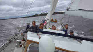 Students from maine Maritime Academy take a sail on Geraldo's old sailboat Voyager, 2013
