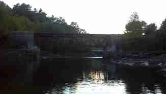 View of an old bridge upriver in Penobscot Bay, near Castine Maine, 2013