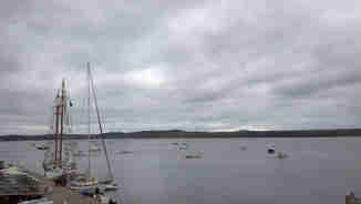 View from the atop the mast of Voyager, Castine harbor in Penobscot Bay, Maine