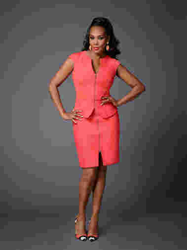 Vivica A. Fox strikes a pose as cast for Celebrity Apprentice Season 14, 2015.