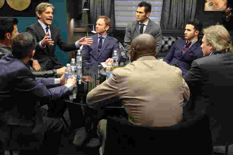 Geraldo addresses Team Vortex during Celebrity Apprentice season 14, 2015.