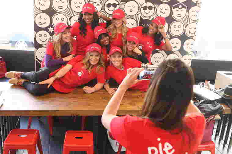 Team Infinity poses at Pie Face during Celebrity Apprentice season 14, 2015.