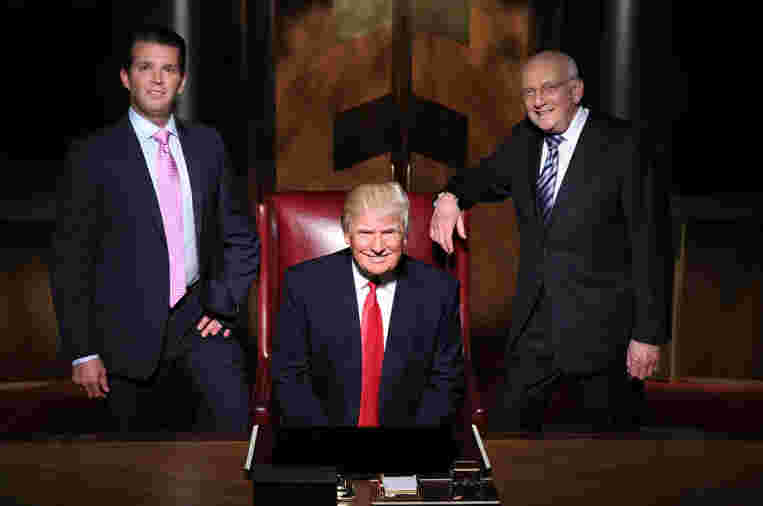 Donald Trump with his advisers during Celebrity Apprentice season 14, 2015.