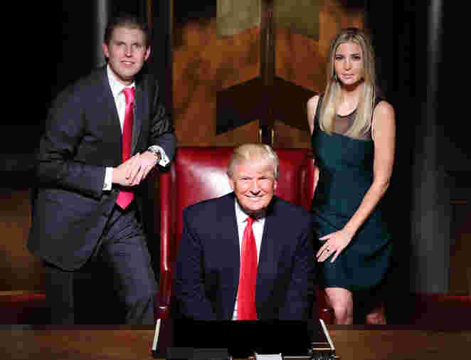 Donald Trump with son Eric trump and daughter Ivanka Trump during Celebrity Apprentice season 14, 2015.