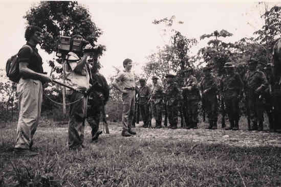 Geraldo, brother Craig Rivera and camera man Carl in the Peruvian Amazon with armed forces, 1986.