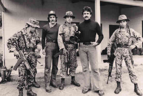 Geraldo in Guatemala with Carl Hersh and armed forces, 1982.