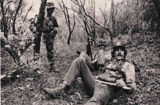 Geraldo takes cover with local armed forces in Guatemala, 1982.