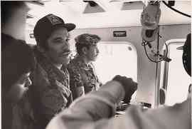 Geraldo in the plane with troops