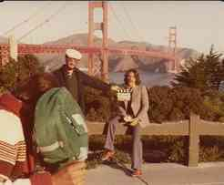 Geraldo does a segment in front of the bridge