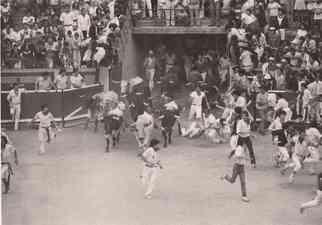 Men on the ground as the bulls run on, Geraldo Rivera