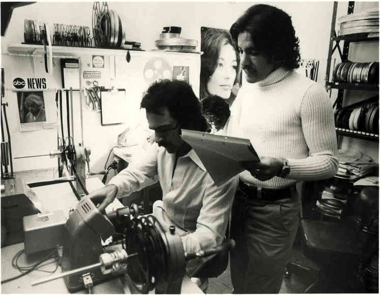 Geraldo Rivera and Producer Martin Berman in the edit room at ABC