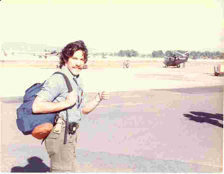 Geraldo on the tarmac during early war correspondence in the 1970s
