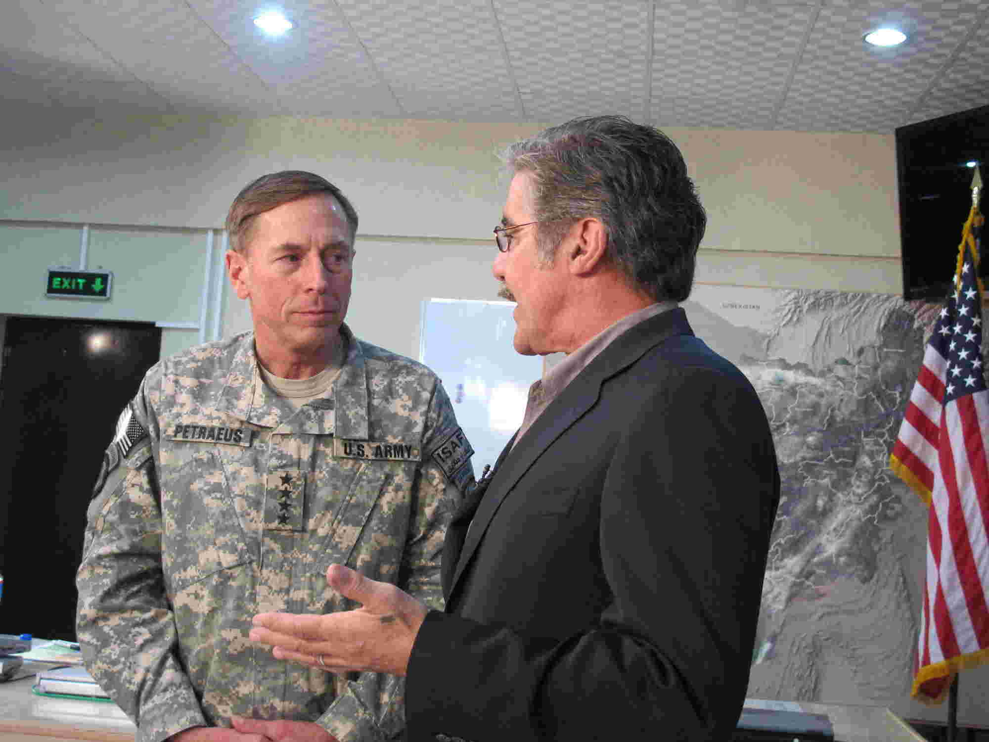 General Petraeus focuses during a question from Geraldo