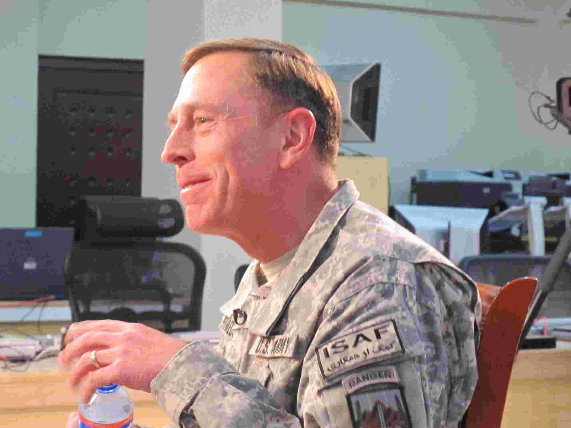 General David Petraeus smiles during an interview with Geraldo