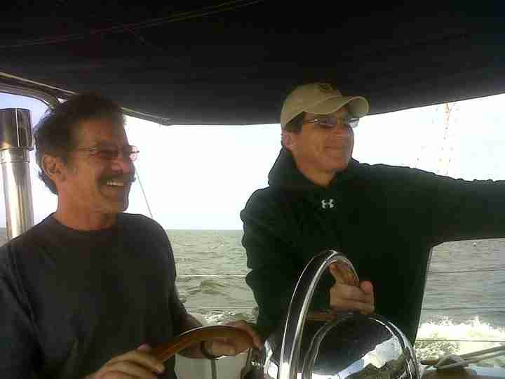 Geraldo and his brother Craig Rivera at sea aboard Geraldo's sailing vessel Voyager, circa 2005