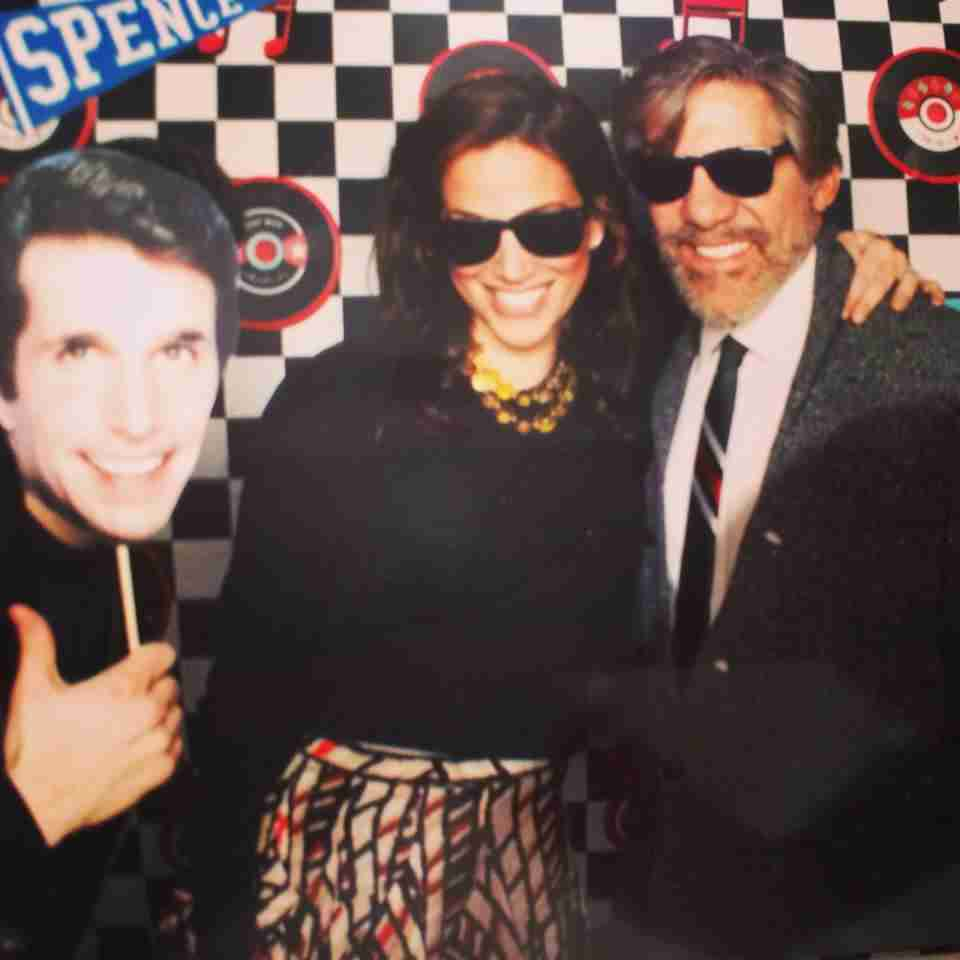 Geraldo and wife Erica pose with Fonze at a Spence School Event