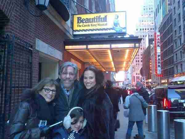 Geraldo with Mother-in-law Nancy on the left, wife Erica, and daughter Sol on their way to see Beautiful, the Carole King Musical