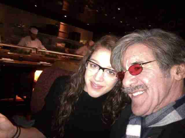 Geraldo and daughter Simone Rivera share a moment during dinner