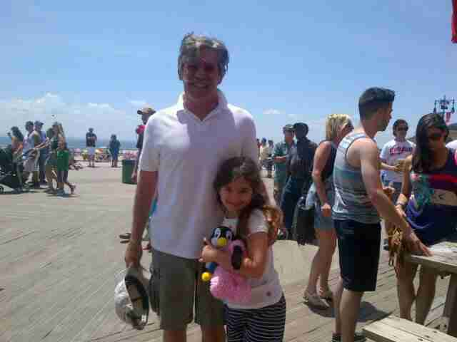 Geraldo at the beach with his youngest daughter Sol, circa 2010