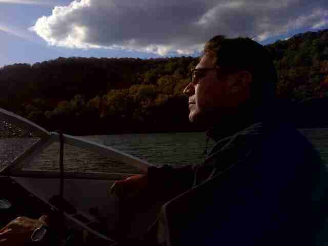Geraldo's brother Craig Rivera during a ride on the Hudson River
