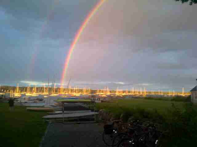 A beautiful rainbow over the harbor in Marion, Massachusetts