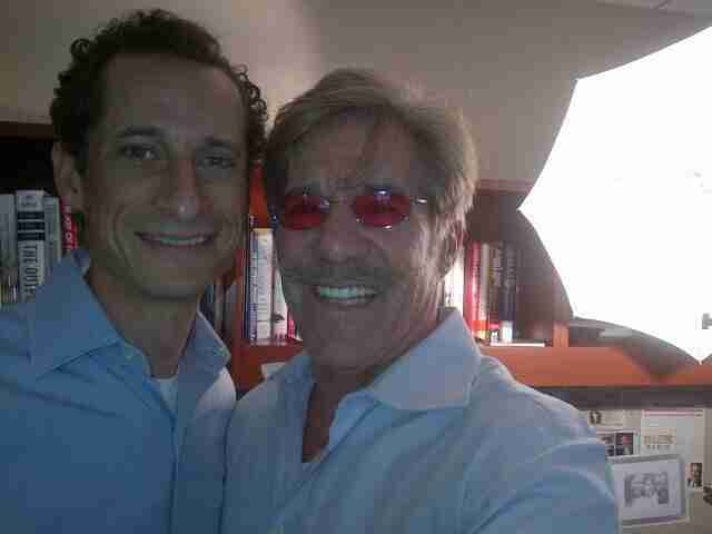 Geraldo with a guest at his radio studio
