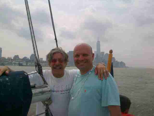 Geraldo with friend and colleague Arthur Aidala, Attorney At Law, aboard sailing vessel Voyager with a Manhattan background