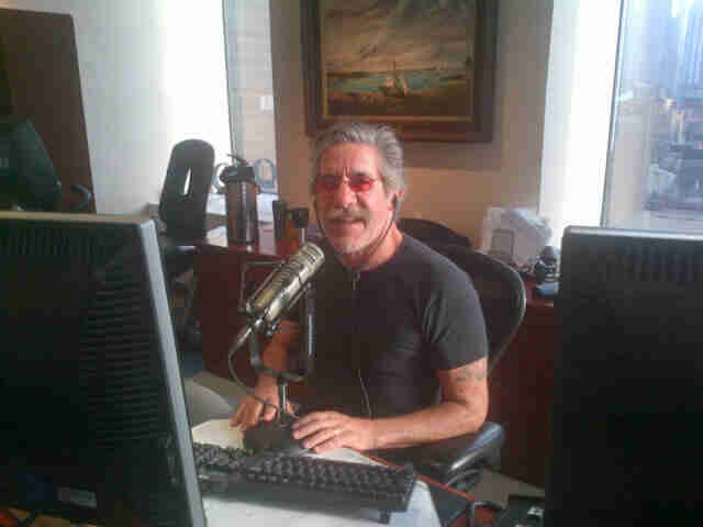 Geraldo on duty at his radio studio in Penn Plaza, Manhattan