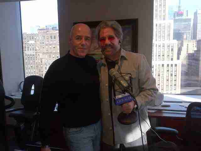 Geraldo at the radio studio with guest Bernard Kerik, former NYPD Police Commissioner