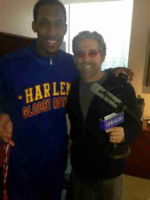 Geraldo with a radio guest in his 77 WABC studio, New York City