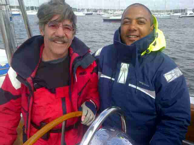 Geraldo with his trusted Captain Kevin Overymeyer on board the sailing vessel Voyager, Marion Harbor, Massachusetts