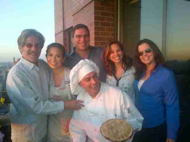 Geraldo shares a moment with the chefs joined by his wife Erica, brother Craig, sister-in-law Cordelia