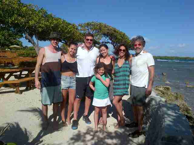 Geraldo on island near Salinas, Puerto Rico.  He is joined here by Brother Craig's two children and wife, as well as Erica and daughter Sol.