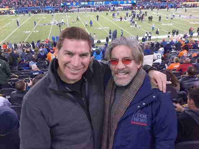 Geraldo takes a moment at the game with his brother Craig.