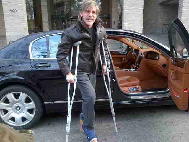 Geraldo prepares to get in the car after a corrective surgery on his foot, circa 2014