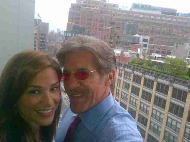Geraldo with his wife Erica overlooking New York from the balcony