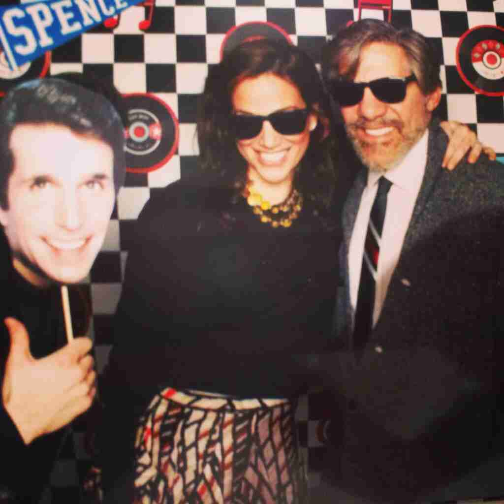 Geraldo and wife Erica pose with a cardboard Fonzie