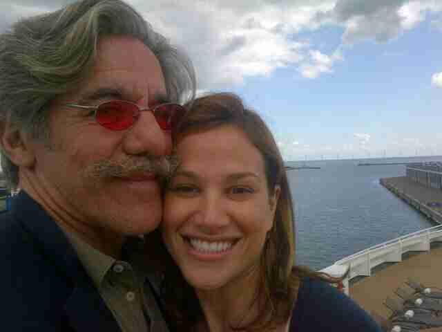 Geraldo and wife Erica share a moment with the ocean in the background