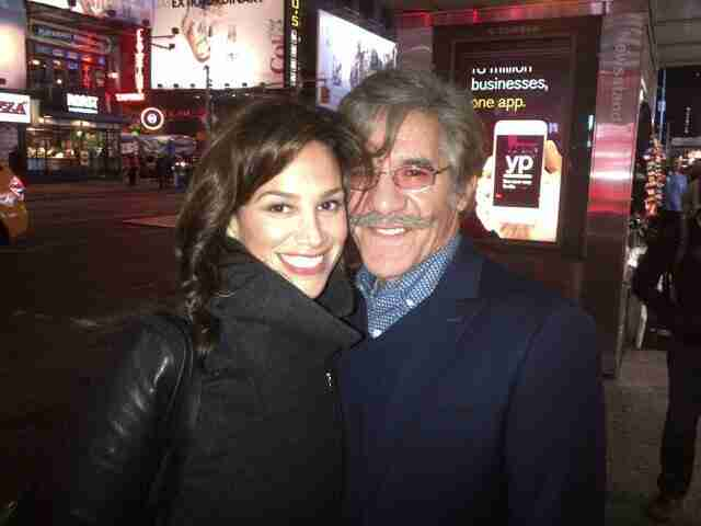 Geraldo and wife Erica share a picture on the busy streets.