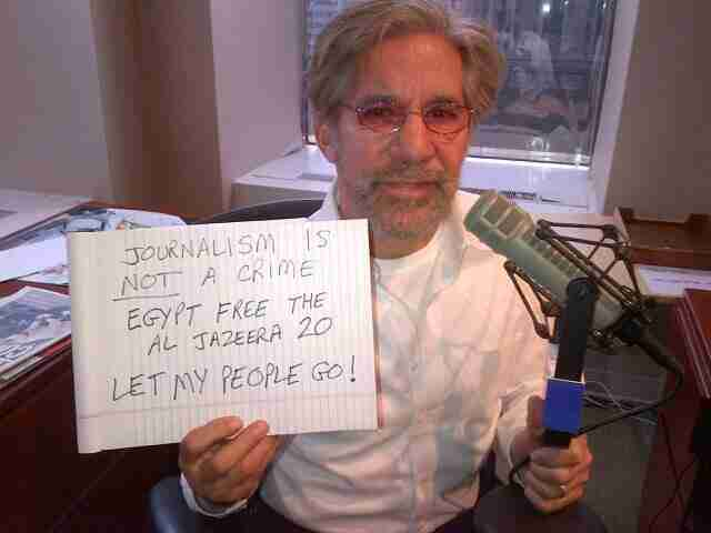 Geraldo shows support for the captive Al Jazeera 20 during his radio show in New York City.
