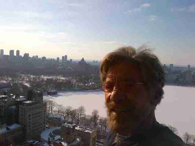 Geraldo overlooks an icy Central Park reservoir from his balcony in Manhattan.