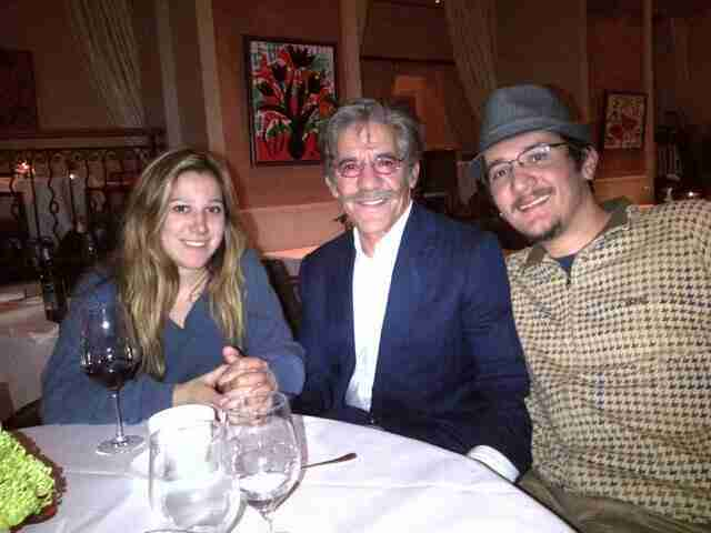 Geraldo out to dinner with his oldest daughter Isabella and oldest son Gabriel.