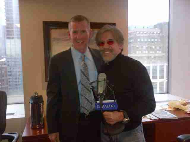 Geraldo takes a photo with his radio guest in 77 WABC studio, high above Madison Square Garden, New York City.