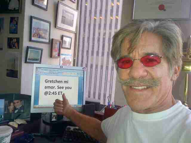 Geraldo prepares to go on Gretchen Carlson's Fox News Channel show The Real Story.