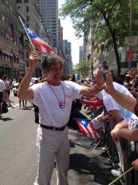 Geraldo during the Puerto Rican Day Parade in New York City, circa 2014.