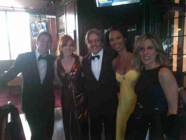 Geraldo with his Fox co-workers, left to right, Bill Hemmer, Liz Claman, Harris Faulkner and Laura Engle, all of the Fox News Channel.
