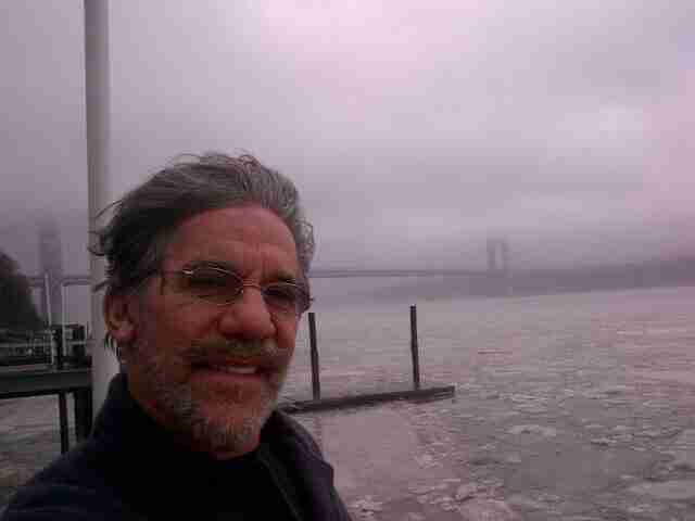 Geraldo shows the ice flows on the Hudson river during a brutal winter, circa 2014.