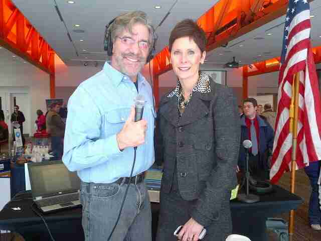 Geraldo with Cumulus employee during a job fair in Pennsylvania, sponsored by Cumulus and iHeart radio
