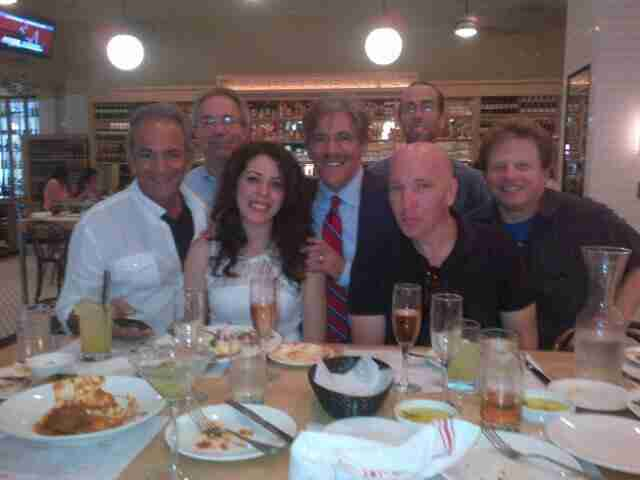 Geraldo with his 77 WABC radio staff, out to lunch.  Includes producers Martin Berman, Mary Elkordy and sidekick Noam Laden.
