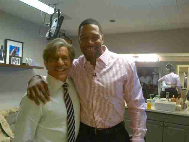Geraldo in the green room with his friend.